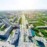 Воздушный вид на город ландшафт урбанский Съемка вертолета изображение панорамное Стоковые Изображения RF
