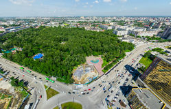 Воздушный вид на город ландшафт урбанский Съемка вертолета изображение панорамное Стоковые Фото