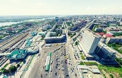 Воздушный вид на город ландшафт урбанский Съемка вертолета изображение панорамное Стоковое Изображение RF