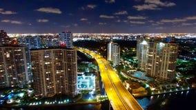 Воздушный горизонт ночи Майами Aventura Стоковое Фото