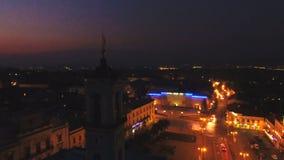 Воздушный город ночи съемки видеоматериал