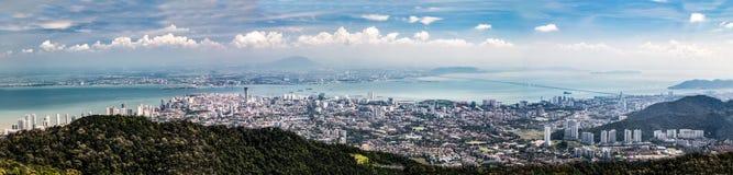 Воздушный городской пейзаж панорамы Джорджтауна, столицы положения Penang стоковые изображения rf