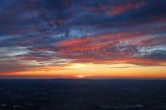 Воздушный заход солнца над Манчестером, Англией Стоковое Фото