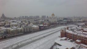 Воздушный красивый трутень 4k вертолета Москвы акции видеоматериалы