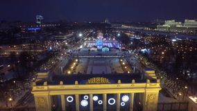 Воздушный красивый трутень 4k вертолета Москвы видеоматериал