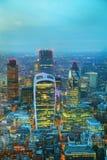Воздушный обзор города ddistrict Лондона финансового Стоковые Изображения