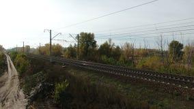 Воздушный отснятый видеоматериал железной дороги сток-видео