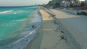 Воздушный отснятый видеоматериал пляжа Cancun Трутень летая вышеуказанная линия берега с гостиницами видеоматериал