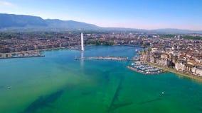 воздушный отснятый видеоматериал 4K города Женевы в Швейцарии - UHD