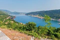 Воздушный панорамный взгляд к морскому порту в Хорватии Стоковое Изображение RF