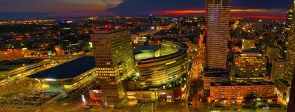 Воздушный панорамный взгляд на Варшаве городской к ноча, от вершины дворца культуры и науки, Варшава, Польша Стоковые Фотографии RF