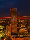 Воздушный панорамный взгляд на Варшаве городской к ноча, от вершины дворца культуры и науки, Варшава, Польша Стоковые Фото