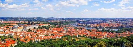Воздушный панорамный взгляд Праги стоковое изображение rf