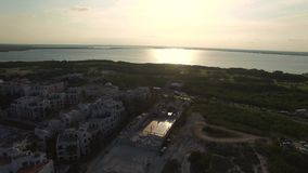 Воздушный панорамный взгляд Cancun Трутень вращается вокруг, панорама выставки Cancun видеоматериал