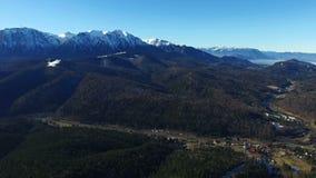 Воздушный полет над лесом с горной цепью на bg видеоматериал