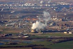 воздушный прибрежный промышленный город Стоковое фото RF