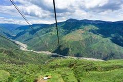 Воздушный трамвай в каньоне Chicamocha Стоковые Изображения