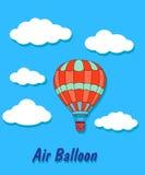Воздушный шар в небе и облаках Стоковые Фото