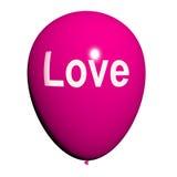 Воздушный шар влюбленности показывает любовь и ласковые чувства Стоковая Фотография RF