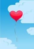 Воздушный шар сердца в небе Стоковое Изображение RF