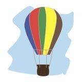 Воздушный шар с корзиной иллюстрация вектора
