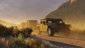 Воинская автоколонна на Canyon Road 2 иллюстрация вектора