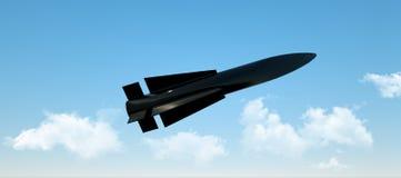 Воинская ракета в полете против неба боеголовка, атомная бомба, химические оружия Старт Ракеты 3d представляют стоковое изображение