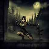 Воинская сексуальная женщина в костюме кота латекса Стоковая Фотография
