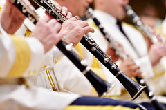 Воинская форма оркестра во время концерта Стоковые Фотографии RF