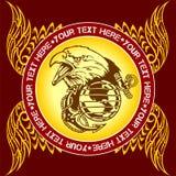 Воинская эмблема - иллюстрация вектора Стоковые Изображения RF
