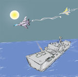 Воинские двигатели и военный корабль Стоковая Фотография