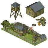 Воинские гарнизон, гараж, башня и пулемет иллюстрация штока