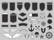 Воинские заплаты Эмблема солдата армии, значки войск и insignia военновоздушной силы латают набор вектора элементов дизайна бесплатная иллюстрация