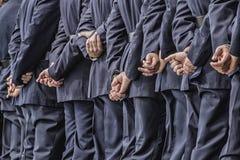 Воинские кадеты выровнянные вверх на квадрате Стоковые Фото