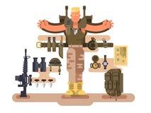 Воинские новобранец и боеприпасы солдата конструируют плоско бесплатная иллюстрация