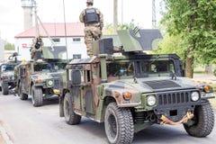 Воинские оборудование и солдаты в езде II драгуна, 12-ое июня 2016 Стоковая Фотография RF