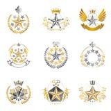 Воинские установленные эмблемы звезд Heraldic coll элементов дизайна вектора иллюстрация вектора