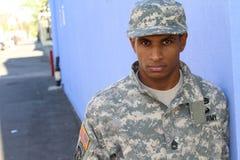 Воинский Афро-американский человек с PTSD Стоковые Фото