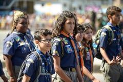воинский гражданский парад празднуя независимость Бразилии стоковое изображение