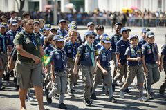 воинский гражданский парад празднуя независимость Бразилии стоковая фотография
