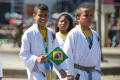 воинский гражданский парад празднуя независимость Бразилии стоковое изображение rf