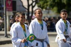 воинский гражданский парад празднуя независимость Бразилии стоковая фотография rf