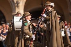 Воинский оркестр на главной площади во время соотечественника и праздничного дня заполированности ежегодника День Конституции Стоковые Изображения