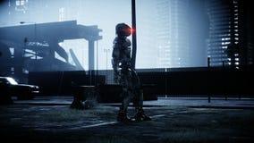 Воинский робот в разрушенном городе Будущая концепция апокалипсиса перевод 3d иллюстрация вектора
