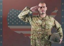 Воинский салютовать против американского флага Стоковая Фотография RF