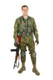 Воинский усмехаться военнослужащего Портрет Стоковое фото RF