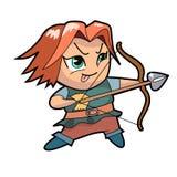 Воинский характер мальчика chibi, лучник Стоковая Фотография