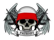 Воинский череп или череп патриота с шлемом флага ПОЛЬШИ иллюстрация вектора