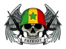 Воинский череп или череп патриота с шлемом флага СЕНЕГАЛА иллюстрация штока