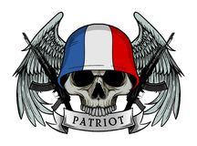 Воинский череп или череп патриота с шлемом флага ФРАНЦИИ Стоковая Фотография